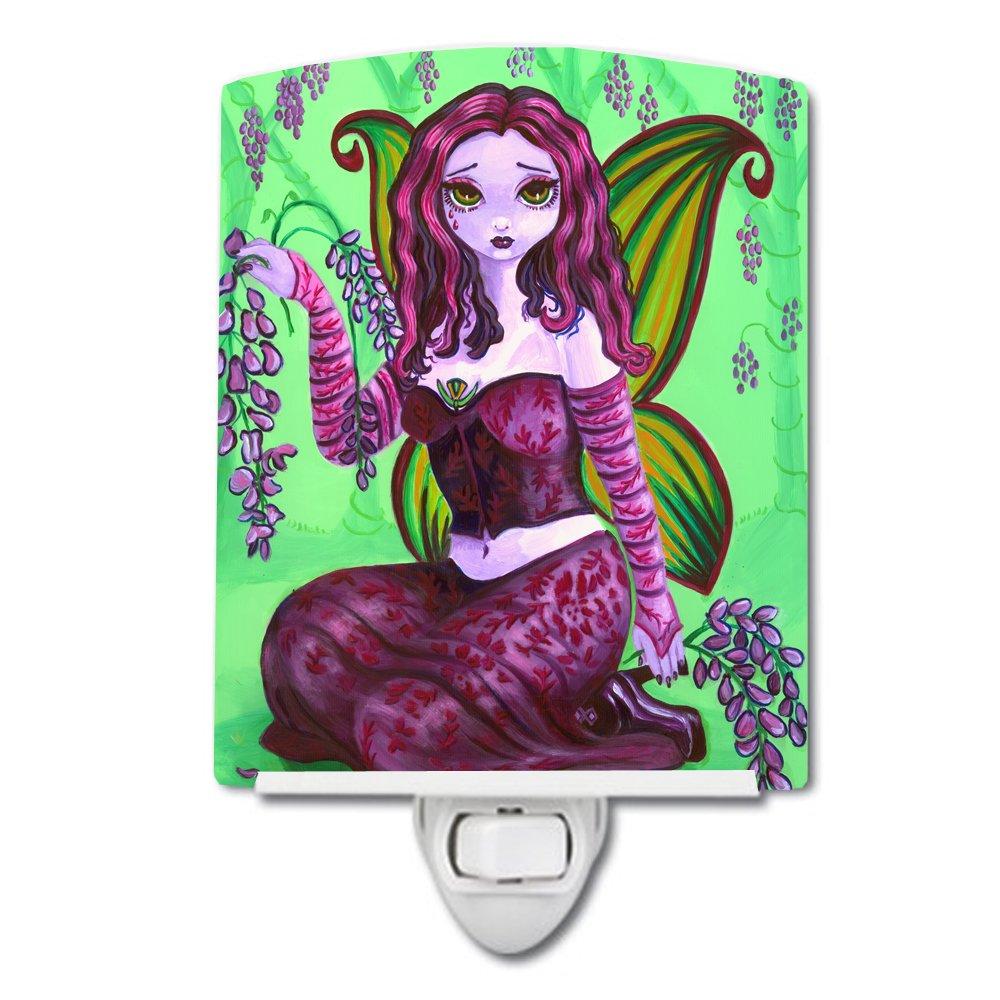 Caroline's Treasures Fairy Lady Wisteria Ceramic Night Light, 6 x 4'', Multicolor
