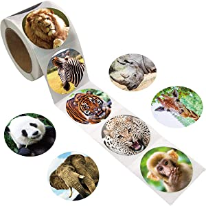 Fancy Land Realistic Zoo Animal Sticker Safari Animal Jungle 200Pcs Per Roll for Kids