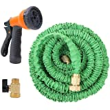 Ohuhu Super Strong Garden Hose/Expandable Hose with All Brass Connector and Free 8-Pattern Spray Nozzle, Green