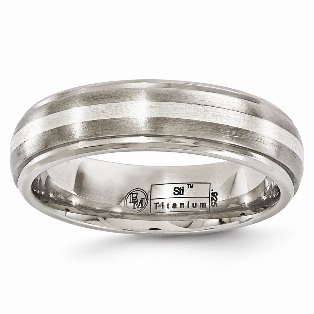ICE CARATS Edward Mirell Titanium Brushed 925 Sterling Silver 6mm Wedding Ring Band Size 10.00 Man Precious Metal Classic Domed W/edge Fine Jewelry Gift Set For Women Heart