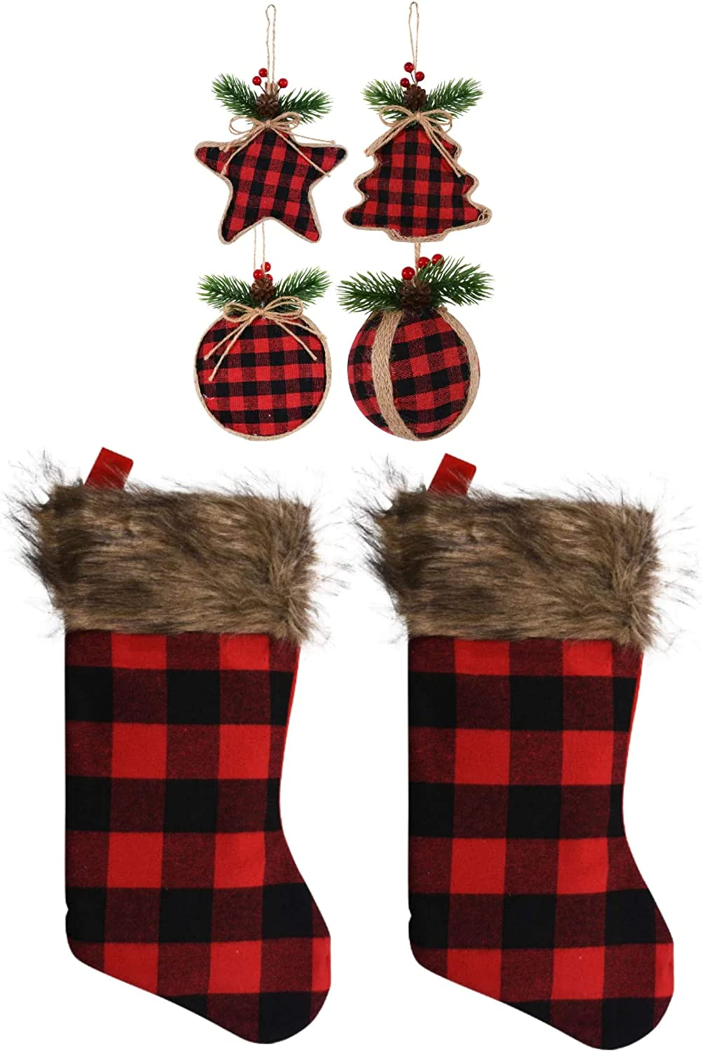 Farmhouse Decor Buffalo Plaid Christmas Stockings and Ornaments 6 Piece Set Red and Black Check Woodland Style (2 Stockings & 4 Ornaments)