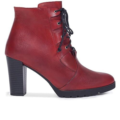 Cordones - Botín Mujer con tacón Rojos: Amazon.es: Zapatos y complementos