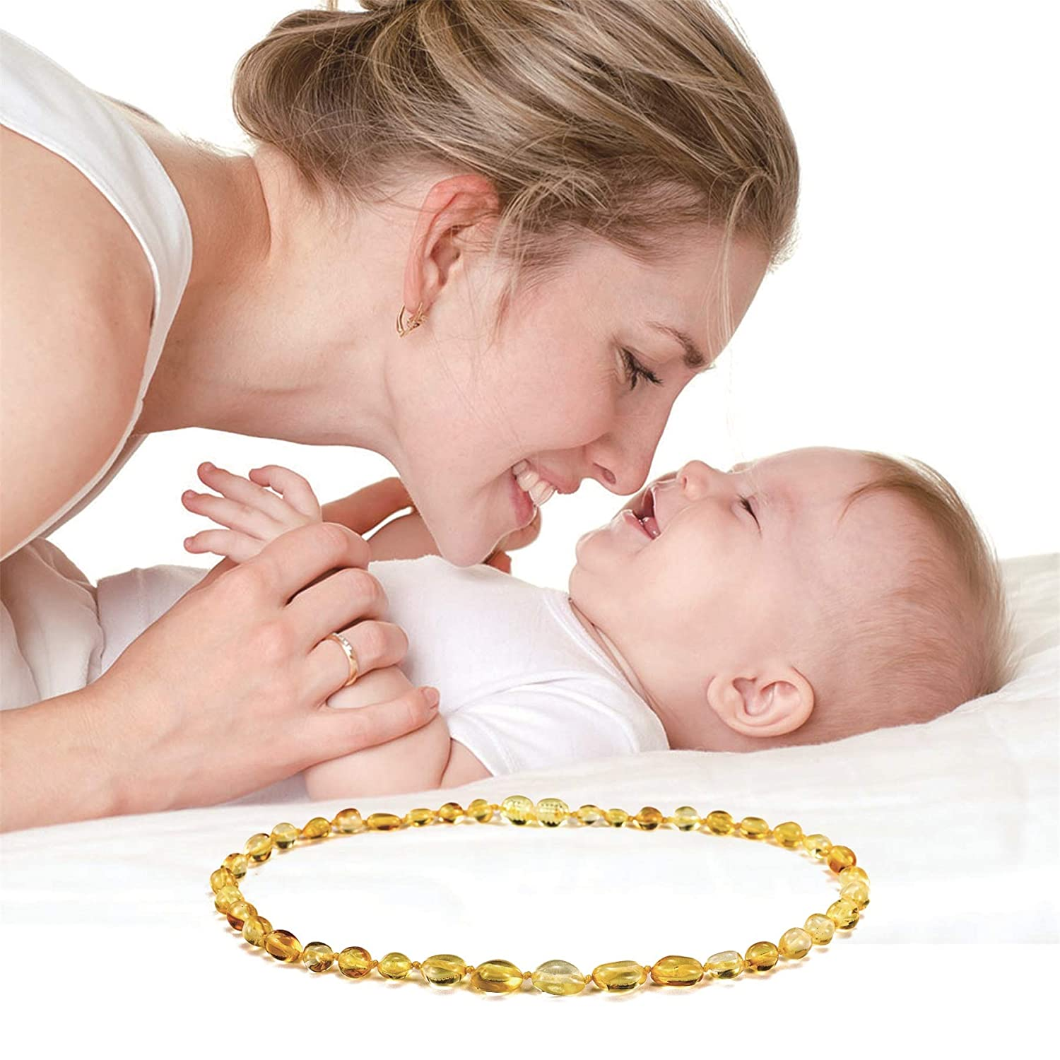 100/% Natural Certificated Oval Baltic Jewelry /… Unisex Drooling /& Teething Pain Reducing Propertie - Lateefah Raw Baltic Amber Teething Necklace