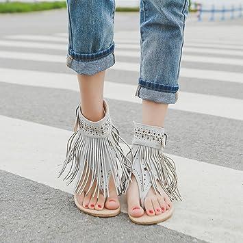 e1229714270ea Image Unavailable. Image not available for. Color  Hemlock Women Bohemia  Flat Sandal Shoes Buckle Tassel Sandals ...