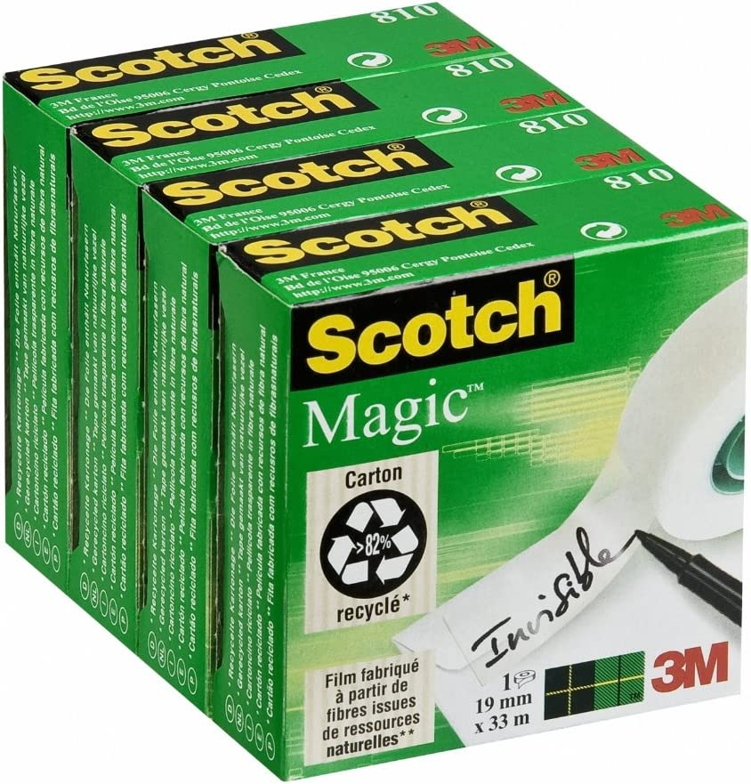 Scotch Magic - Cinta invisible en caja individual (4 cajas), 19 mm x 33 m