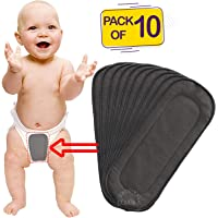 Bembika 5 Layer Bamboo Charcoal Inserts Liners Natures Cloth Diaper Liner, Wetfree Reusable Washable Cotton Diaper Nappy Inserts for Baby Cloth Diapers (Set of 10)