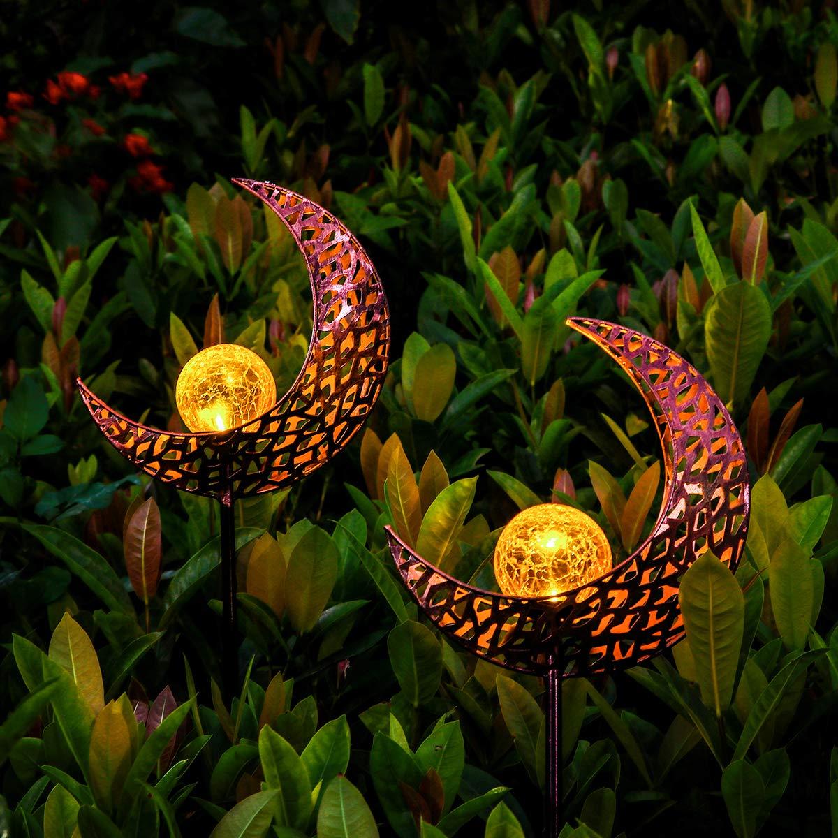 YUNLIGHTS Solar Garden Lights Outdoor, 2 Pack Moon Crackle Glass Globe Solar Stake Lights, IP64 Waterproof LED Solar Powered Garden Lights for Garden Patio Lawn Backyard Pathway Decoration(Warm White)