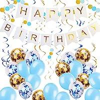 Zowella Happy Birthday Banner, Happy Birthday Banner White, Blue Balloons and Gold Confetti Balloons Hanging Swirls…