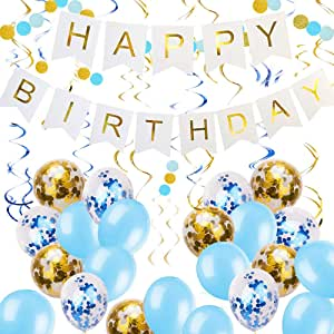 Zowella Happy Birthday Banner, Happy Birthday Banner White, Blue Balloons and Gold Confetti Balloons Hanging Swirls, Glitter Circle Dots for Boy's Birthday Party, Baby Shower Adults Party, Birthday Party Decorations