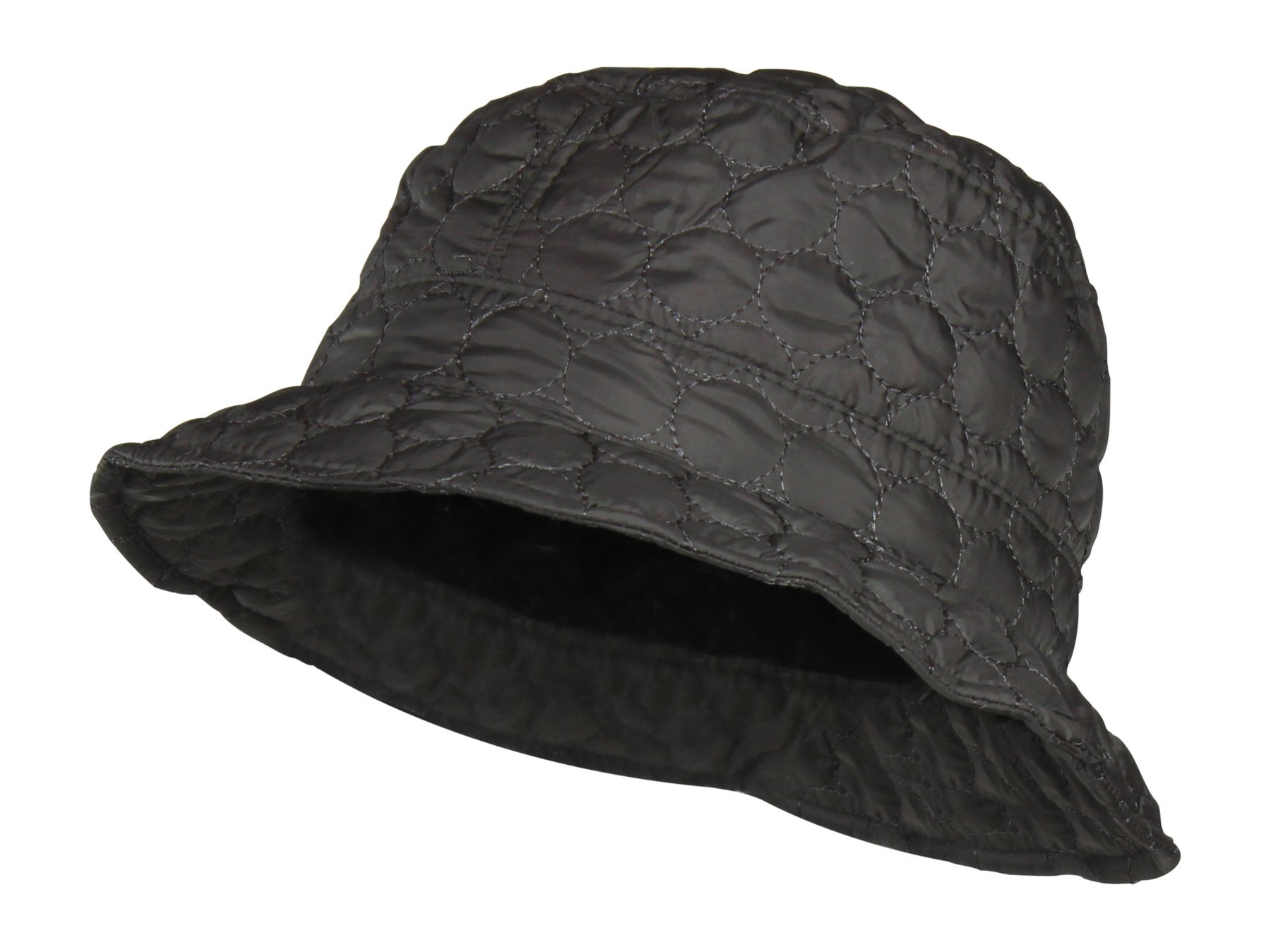 Grey Packable Water Repellent Quilted Bucket Rain Hat w/Adjustable Drawstring by Folie Co.