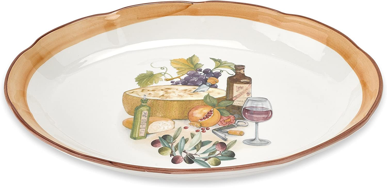 Lorren Home Trends Mona Lisa Oval Platter, 18