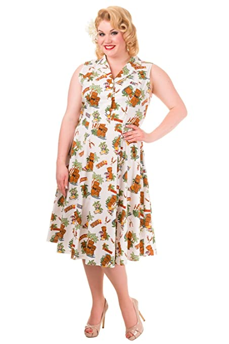 Plus Tiki Print Vintage Dress - Plus Size $61.95 AT vintagedancer.com