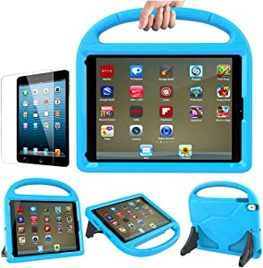 iPad 9.7 inch 2018/2017 / Air 2 / Pro 9.7 Case for Kids - Stand Handle Shockproof Protective Cover with Screen Protector for Apple iPad 5th/6th Generation, iPad Air 1 & iPad Air 2,Blue