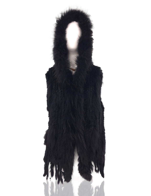 Uilor Women Knitted Rabbit Fur Vest with Raccoon Fur Collar Hooded 27020