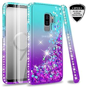 LeYi Compatible with Funda Samsung Galaxy S9 Plus S9+ Silicona Purpurina Carcasa con [2-Unidades] 3D Curvo Pet Pantalla,Transparente Cristal Bumper ...