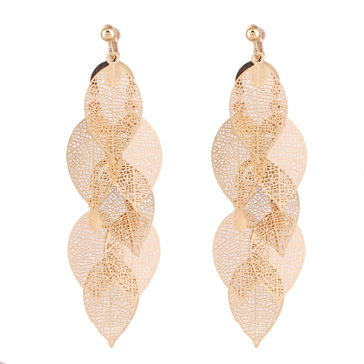 Grace Jun New Handmade Multi-layer Dangle Drop Earrings and Clip on Earrings No Pierced for Women (Gold Clip-on 1) by GRACE JUN