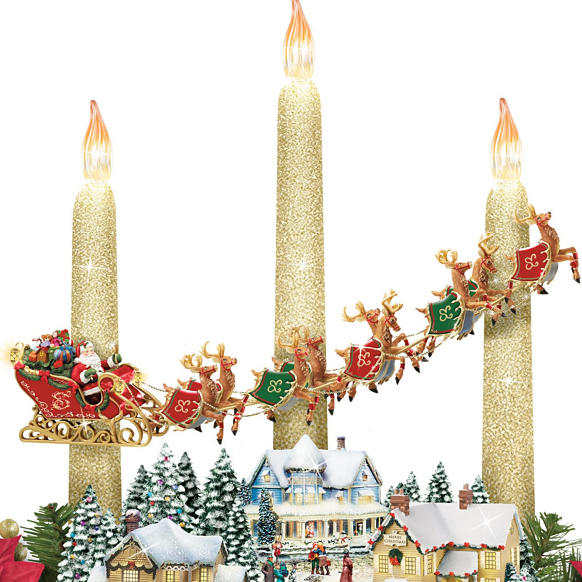 Thomas Kinkade The Lights Of Christmas Illuminating Village Table Centerpiece - Close up of Santa and his Sled