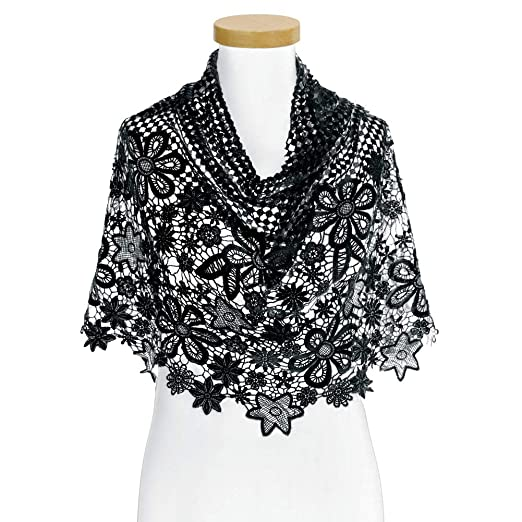 Floral Crochet Lace Scarf And Layering Accessory Accent Black At