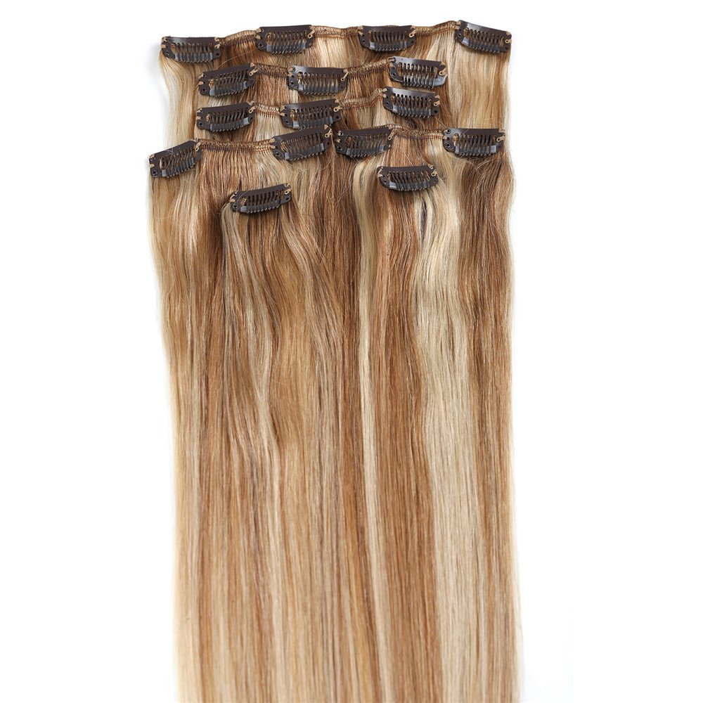 Amazon new ok buy 15 clip in remy human hair extensions 12 amazon new ok buy 15 clip in remy human hair extensions 12613 light brown with bleach blonde 7pcs 70g beauty pmusecretfo Choice Image