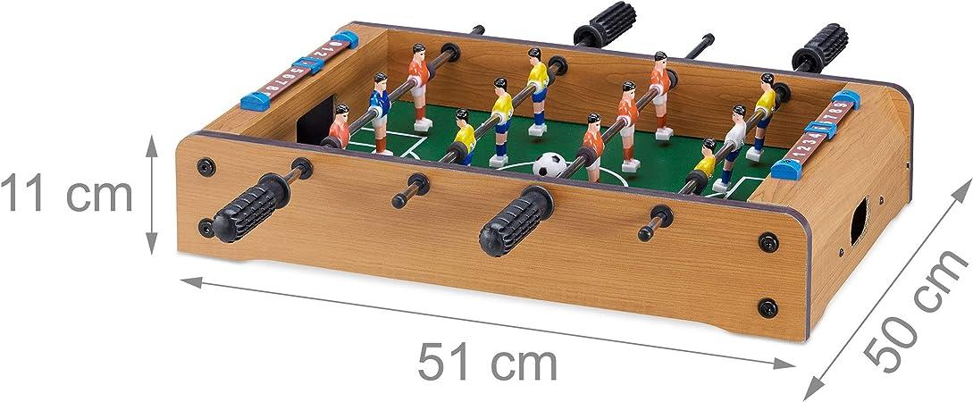 Relaxdays Futbolín de Mesa para 2 Jugadores, Color Verde-marrón ...