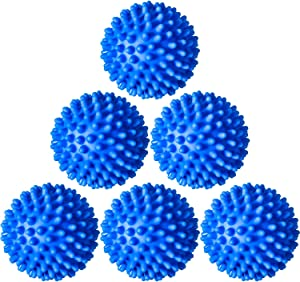 6 Pieces Laundry Drying Balls, Reusable Dryer Balls, Replace Laundry Drying Fabric Softener and Saves, Reusable Washing Machine Dryer Cleaning Soften Clothes Wash Ball (Blue)