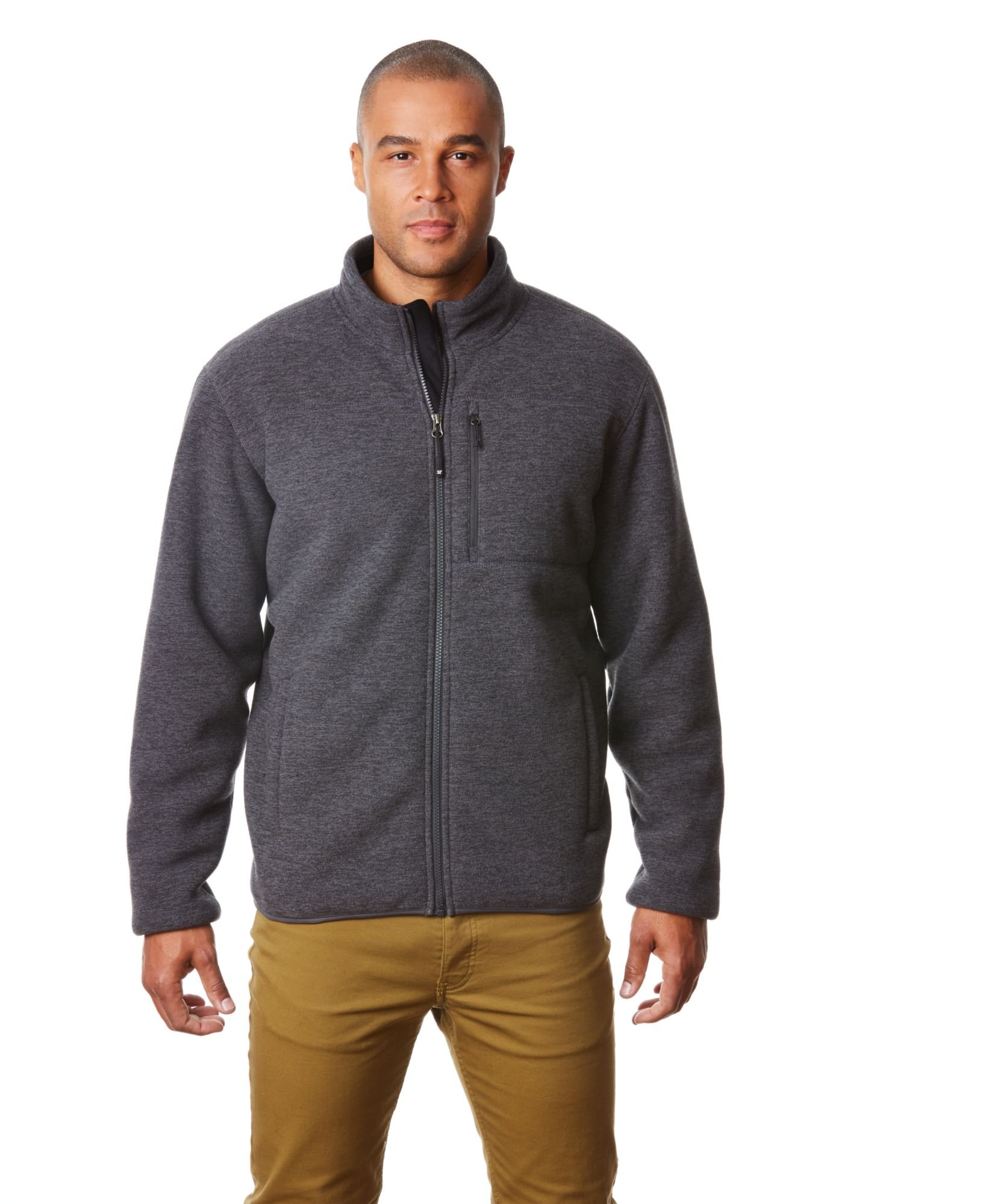 32 DEGREES Men's Fleece Sherpa Jacket, Dark Heather Charcoal, M