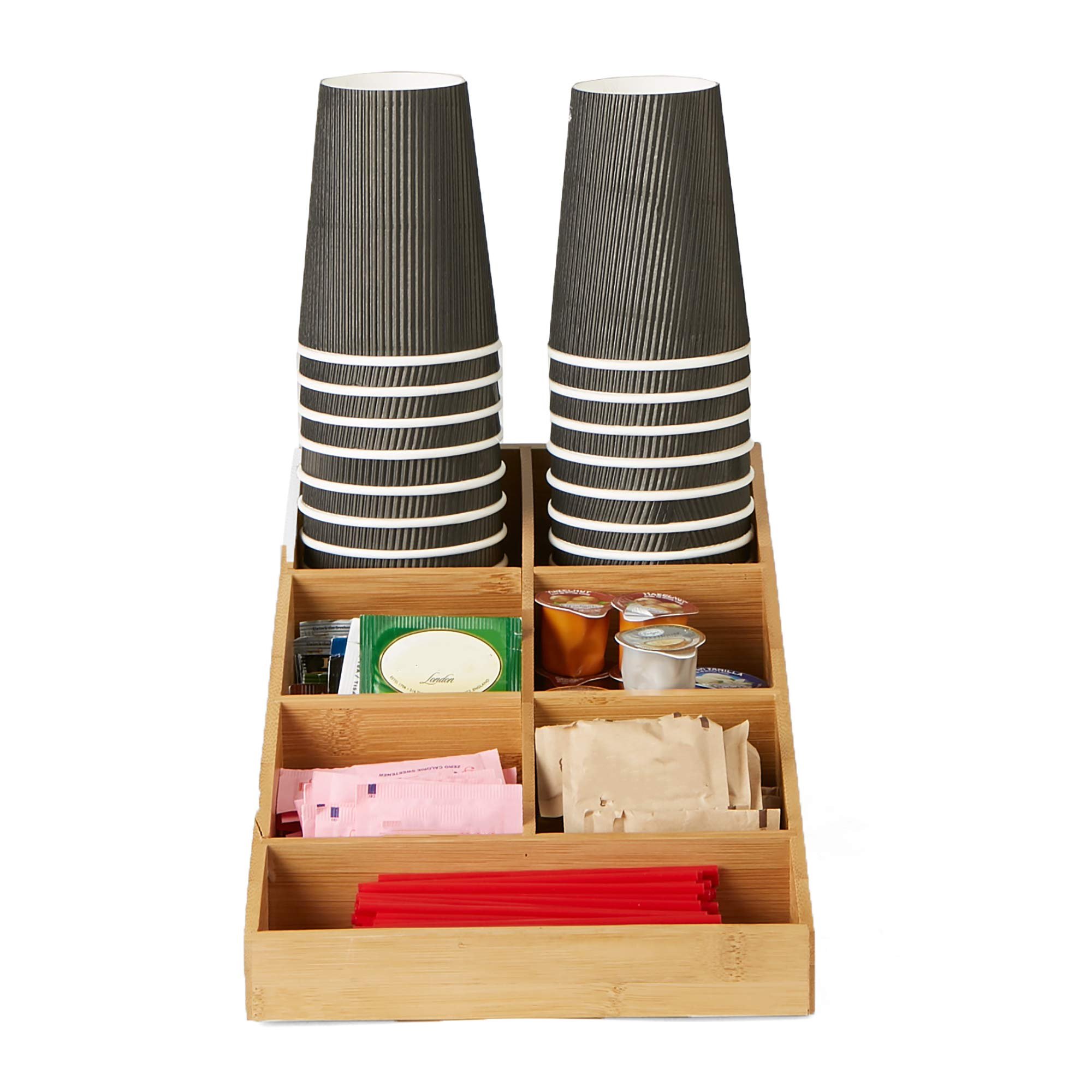 Mind Reader Coffee Condiment and Accessories Organizer, 7 Compartments, Brown by Mind Reader (Image #3)