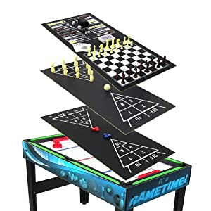 Combination Multi Game Table With Billiards, Push Hockey, Foosball, Ping  Pong, And