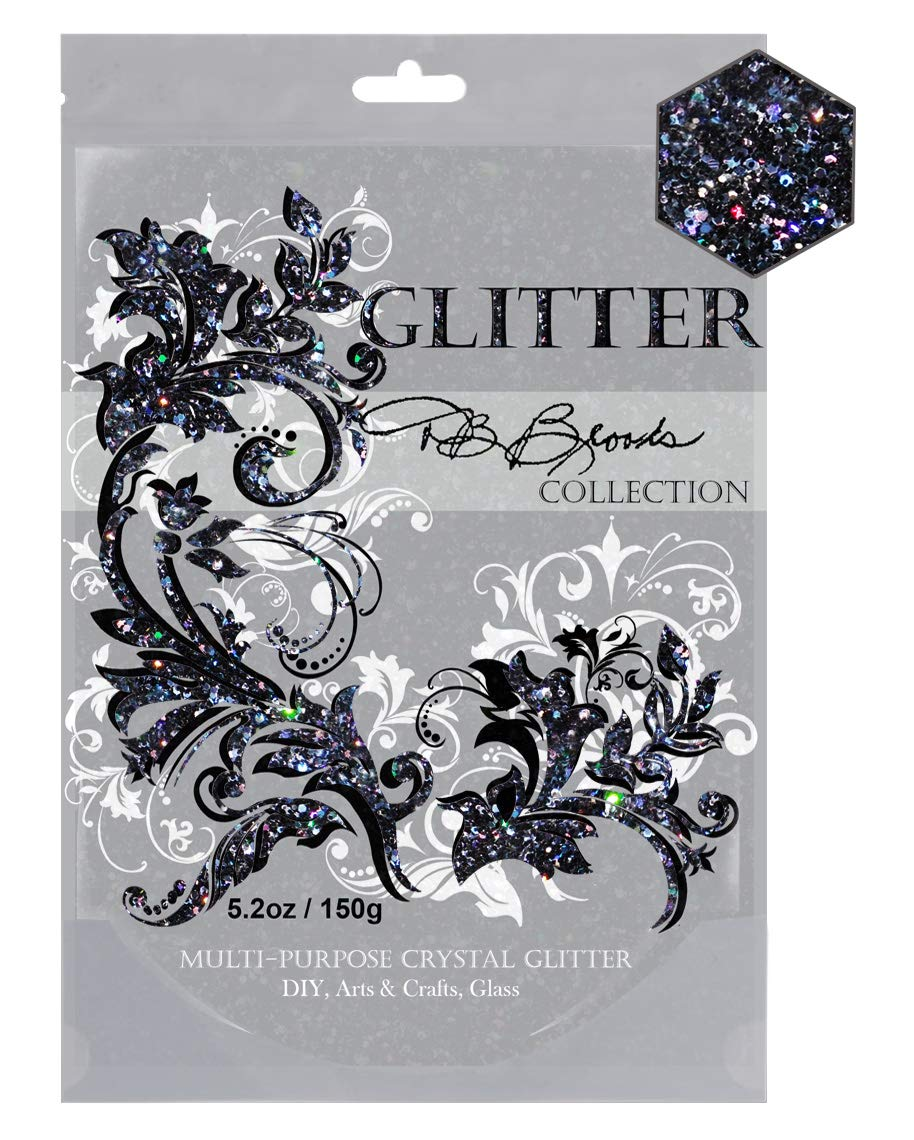 DB Brooks Collection (Black Holographic) Glitter Grout/Caulking Additive Hybrid Crystals. 150g/5.2oz fine Blended Glitter for Tiles Bathroom Powder Room Kitchen - resealable Bag.