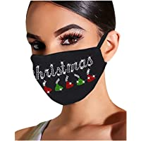 Selinora Bling Rhinestone Adult Women Reusable Breathable FaceCover Diamond Fashion Cloth Face_Mask for Christmas Party