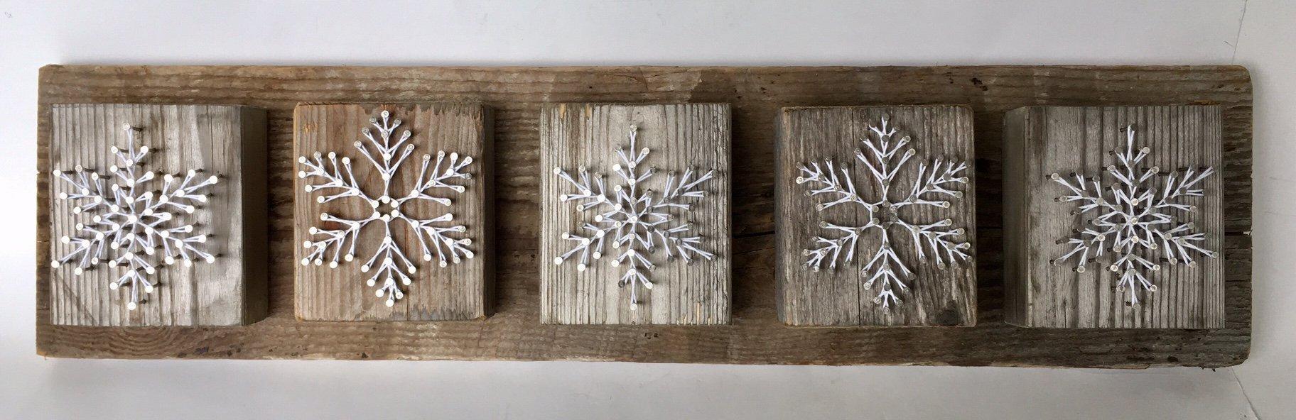 Snowflake string Art ''winter wonderland'' home decor wall hanging. by Nail it Art