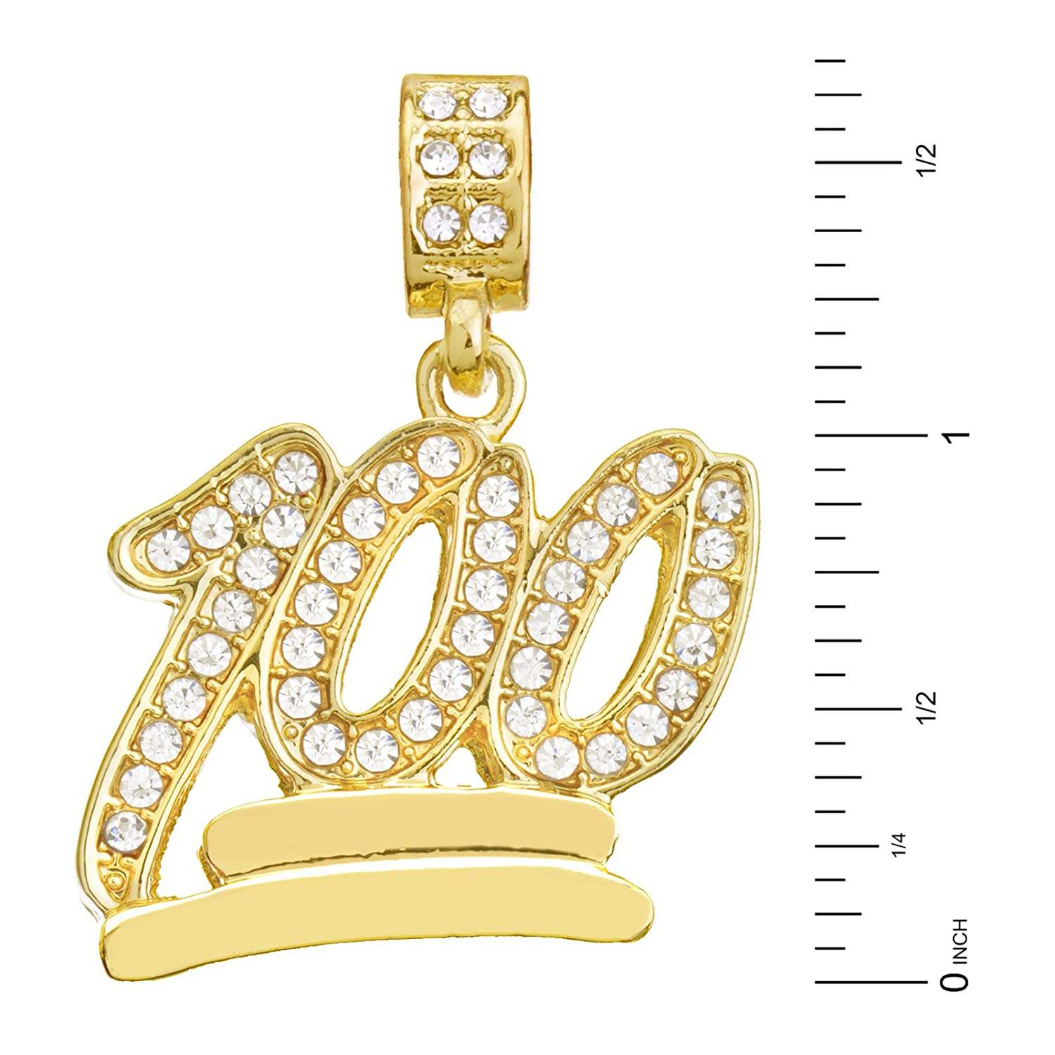 0aef8a372019f METALTREE98 Men's Gold Plated Iced Out 100 Emoji Pendant 20