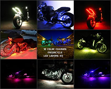 Amazon motorcycle led strip lights kit 12 pcs motorbike led motorcycle led strip lights kit 12 pcs motorbike led lights strips multi color accent aloadofball Image collections
