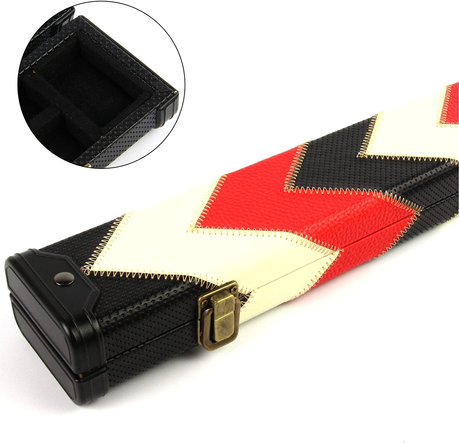Funky Chalk Luxury Red White & Black 2pc Pool Snooker Cue Case-For ...