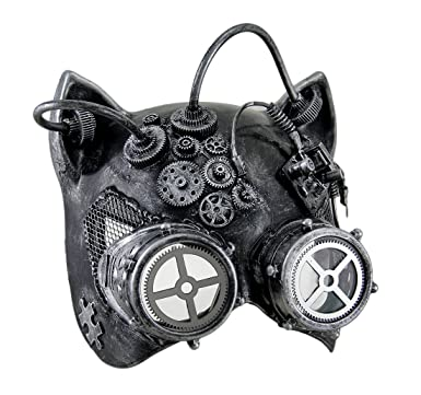 Silver Ste&unk Kitty Cat Woman Costume Half Mask with Goggles Adult Masquerade  sc 1 st  Amazon.com & Amazon.com: Silver Steampunk Kitty Cat Woman Costume Half Mask with ...