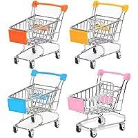 Drehdy Mini Supermarket Handcart, 4 Pcs Mini Shopping Cart Supermarket Handcart Shopping Utility Cart Mode Storage Tools…
