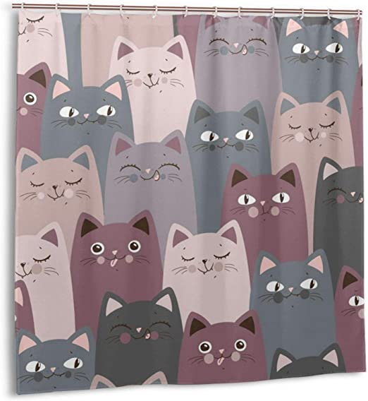 Amazon Com Colorful Cartoon Cat Shower Curtain Kitten Kids Cartoon Watercolor Shower Curtain Funny Kitty Cute Animal Lovely Pet Shower Curtain Multicolor Cartoon Cats Waterproof Curtains Set For Bathroom Home Kitchen