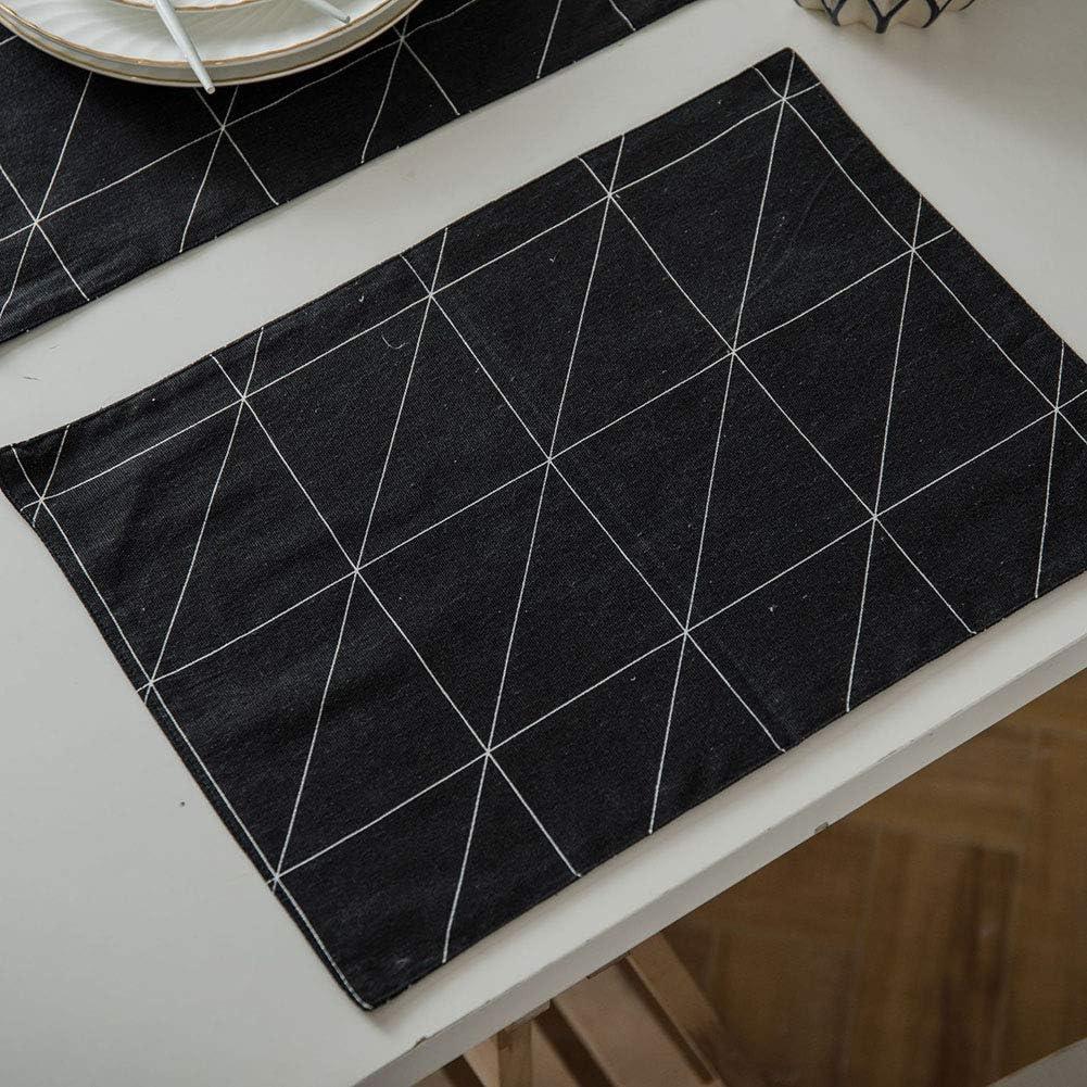 BEILAMI Geometría de Tela Negra Juego de 4, Mantel Doble de Lino ...