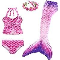 D C.Supernice Cola Sirena Niña para Nadar Linda Impresión Disfraz Sirenita Cosplay Trajes Tankini y Diadema Flores o…