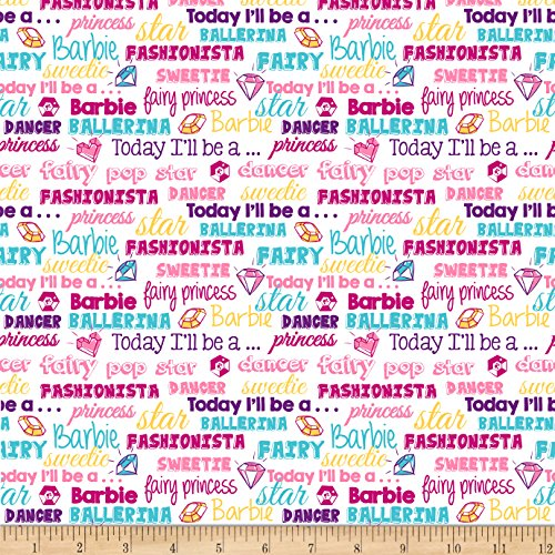 Fabric & Fabric 0574167 Barbie Words Multi Fabric by The Yard, Multicolor ()