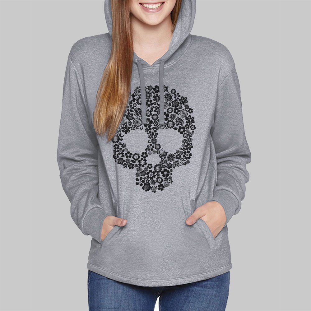 Womens Hoodies // Skull Flowers Pullover Hooded Sweatshirt