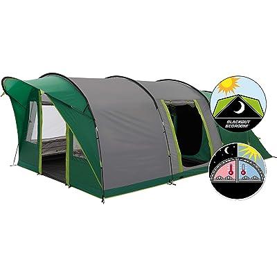 Carpa Coleman Pinto Mountain 5 Plus, 5 personas Carpa tipo túnel con cabina de dormir negra noche, carpa familiar, resistente al agua WS 4,500 mm
