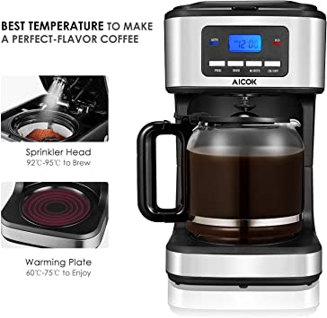 AICOK Coffee Maker, 12 Cups Programmable Drip Coffee Maker with Coffee Pot, Coffee Machine with Timer, Anti-Drip Design, Permanent Filter Coffee ...