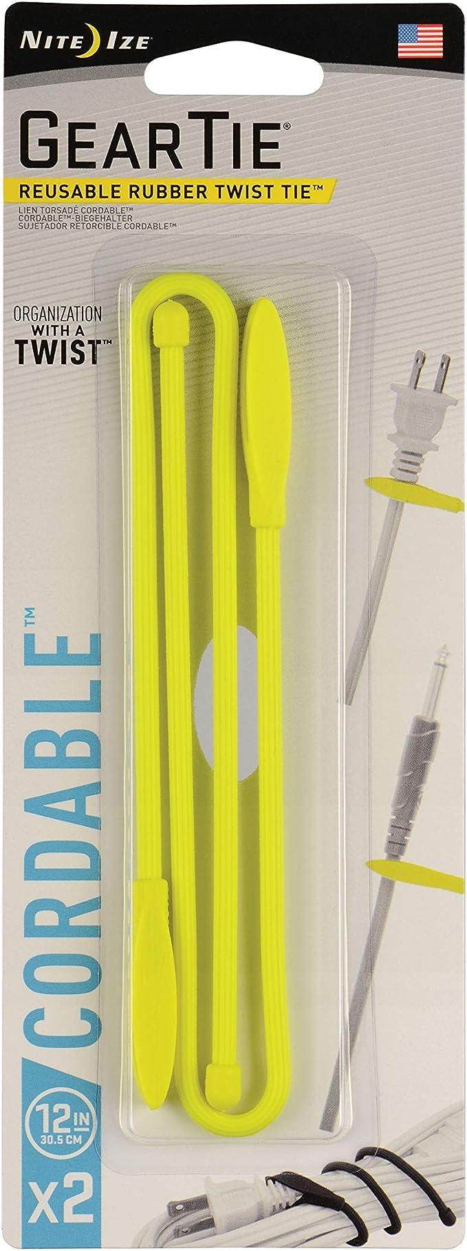Nite Ize Gear Tie cordable Twist Tie 12 en lot de 2 Jaune Fluo