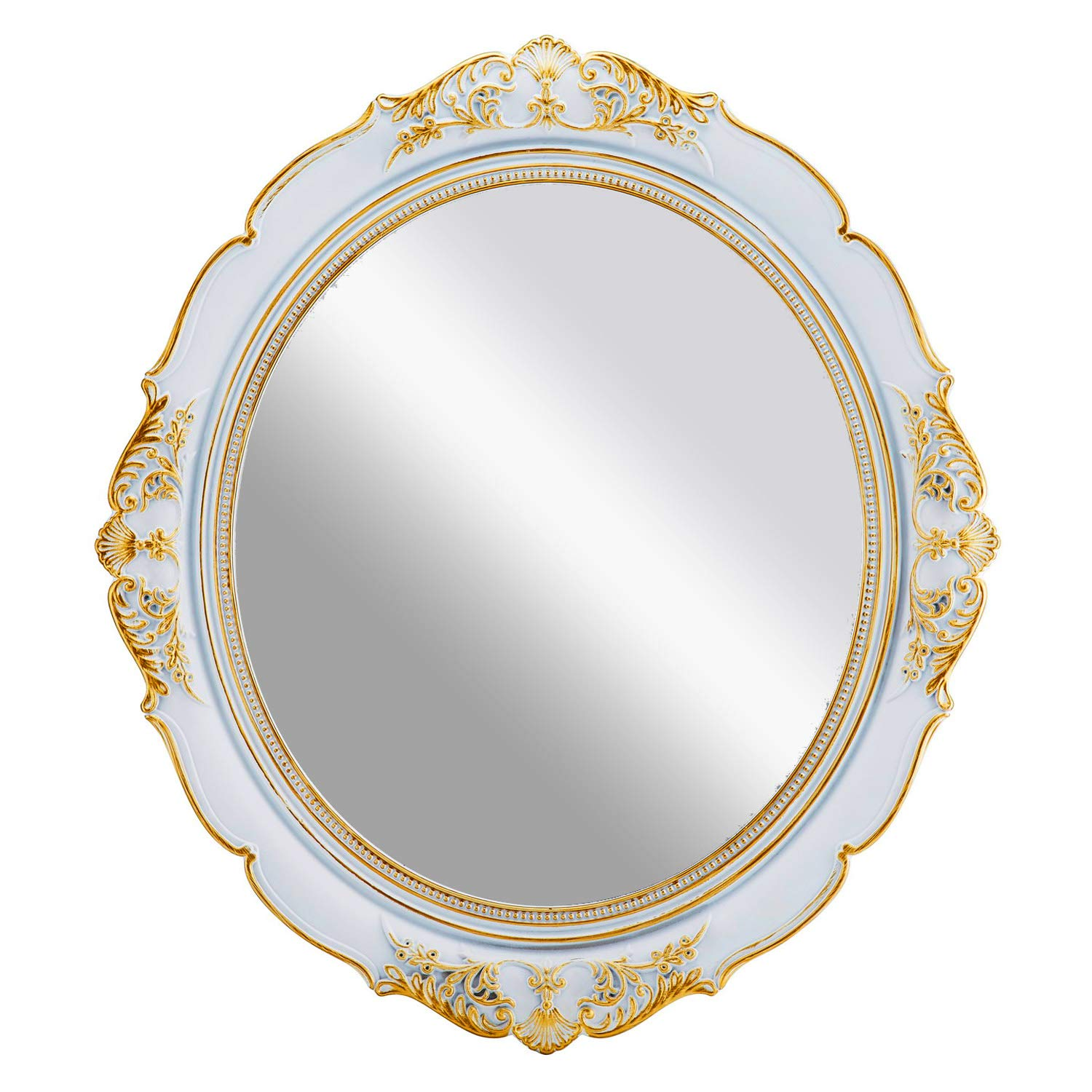 "OMIRO Decorative Wall Mirror, Vintage Hanging Mirrors for Bedroom Living-room Dresser Decor, Oval Antique White 13""W x 15""L"