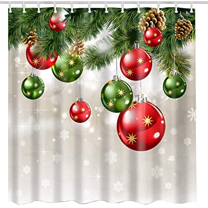 BROSHAN Christmas Shower Curtain Sets Baubles Ornaments On Pine Tree Twig Printing Xmas
