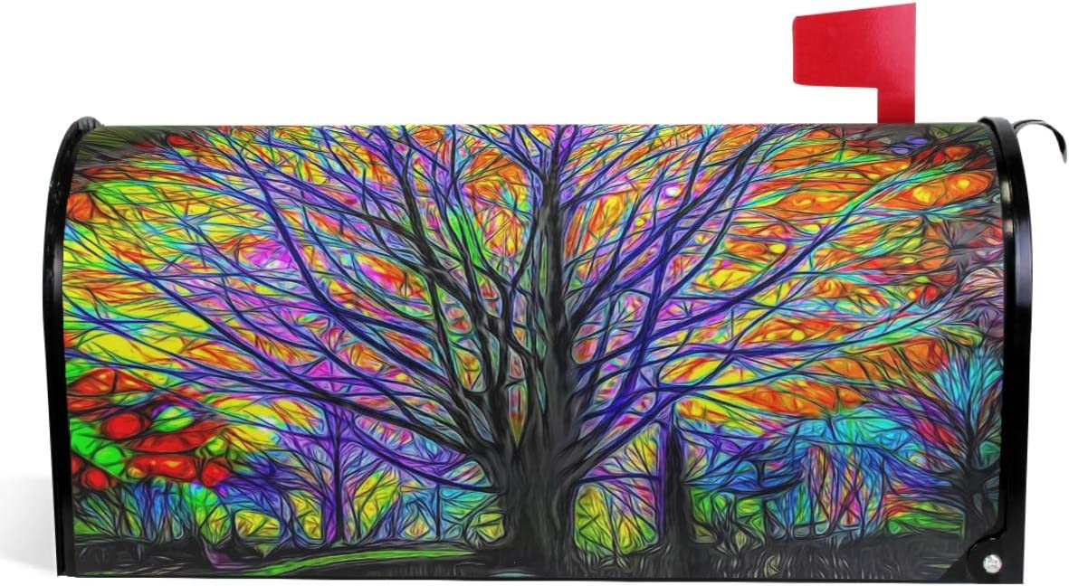 Amazon Com Wamika Rainbow Tree Of Life Mailbox Cover Colorful Forest Tree Mailbox Covers Magnetic Mailbox Wraps Post Letter Box Cover Standard Size 18 X 21 Garden Outdoor