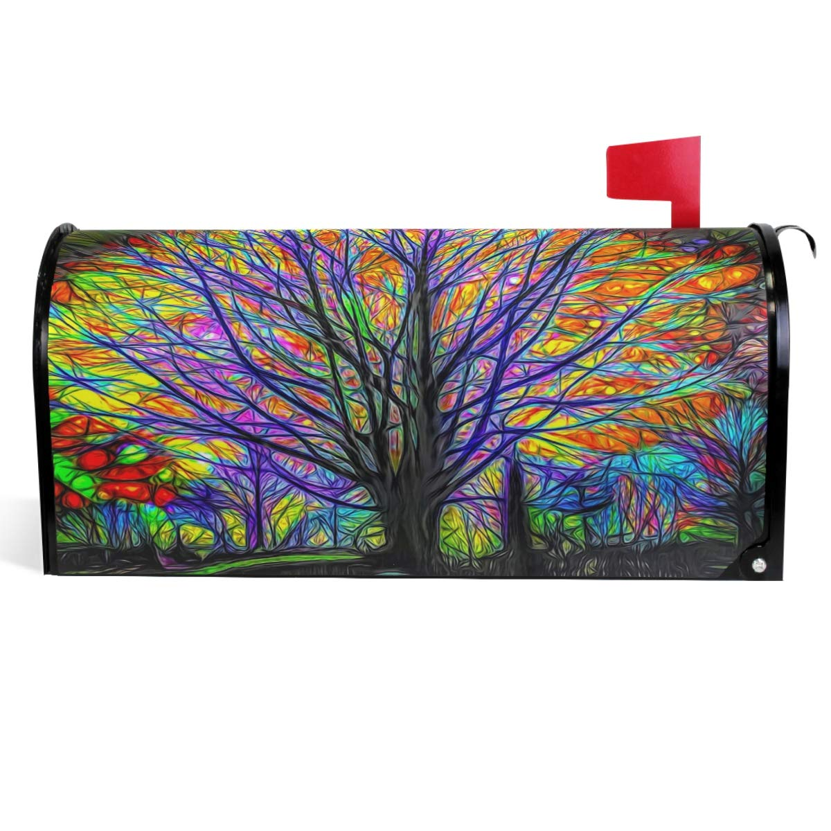 """Wamika Rainbow Tree of Life Mailbox Cover Colorful Forest Tree Mailbox Covers Magnetic Mailbox Wraps Post Letter Box Cover Standard Size 18"""" X 21"""""""