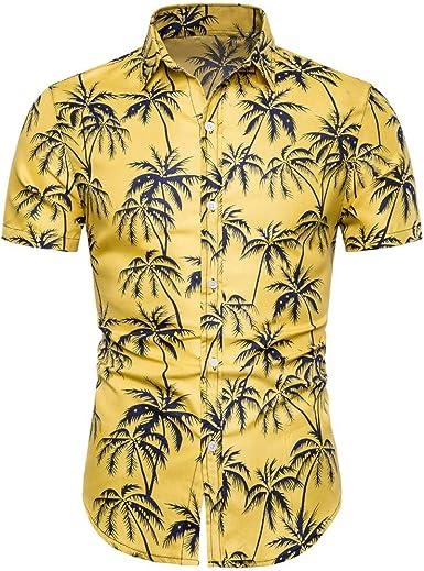 COOFANDY Mens Hawaiian Shirt Hibiscus Floral Print Beach Aloha Shirt