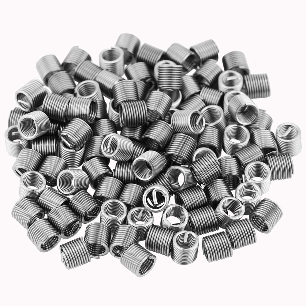 Ochoos 100 Pcs 304 Stainless Steel Wire Screw Sleeve Thread Repair Insert Assortment Kit Wire Thread Inserts M5x0.8x2D New Arrival